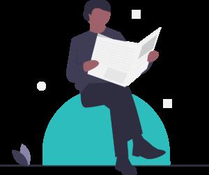 Représentation d'une personne qui lit un journal